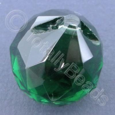 Glass Pendant Drop Round Green - 21mm