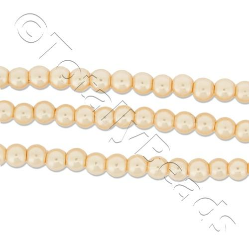 Glass Pearl Round Beads 3mm - Peach