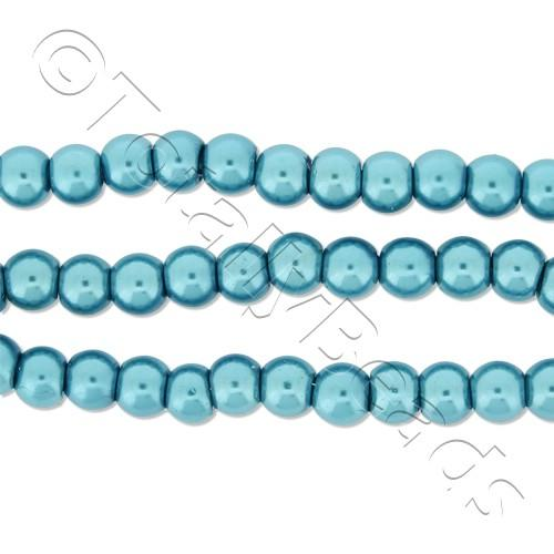 Glass Pearl Round Beads 4mm - Turquoise