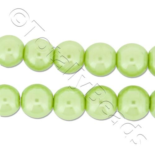 Glass Pearl Round Beads 8mm - Lime Green