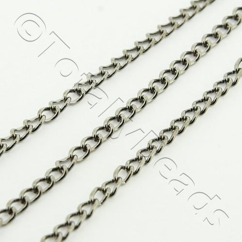 Chain Black Plated - Oval Twist 1.5x2mm