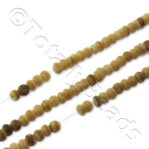 "Wooden Bead - Light Colour Rondelle 3mm 16"" String"