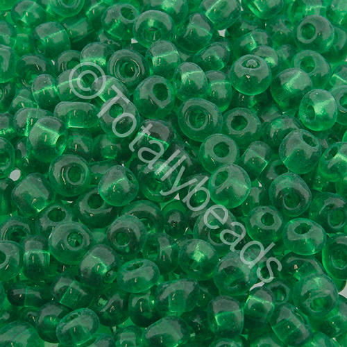 Seed Beads Transparent  Green - Size 6