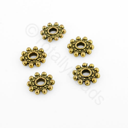 Tibetan Gold Bead - Spacer Flower 8mm - Antique Gold