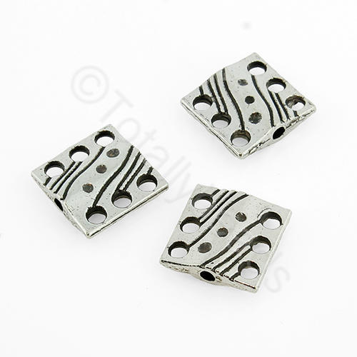 Antique Silver Square Bead - 10mm - 6 Hole