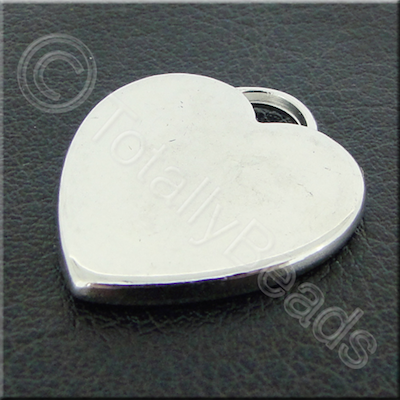 Metalised Acrylic Charm Heart - 24mm - Silver