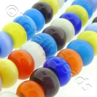 Cats Eye Bead - Rondelle 10x7mm - Mixed