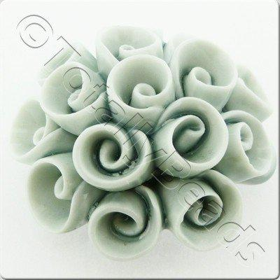 Ceramic Pendant - Swirl Flower - White&Grey