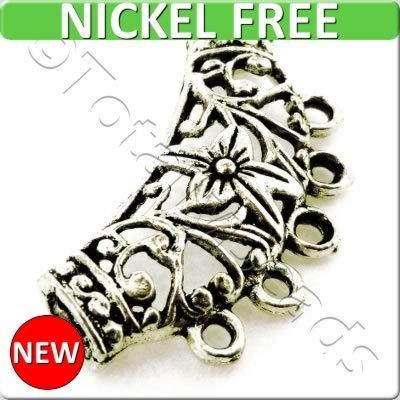 Antique Silver Metal Connector - Flower 38x20mm 3pcs - A8257