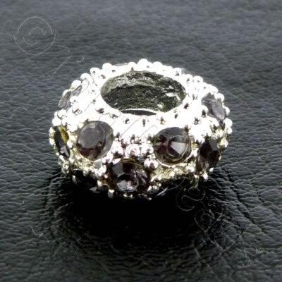 Diamante Large Hole Rondelle Spacer - 11x6mm - Black Diamond