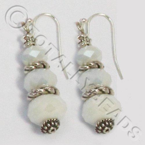 Christmas Tree Earrings - White