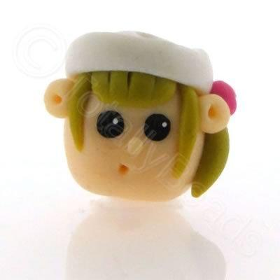Fimo Doll Bead - Girl White Hat