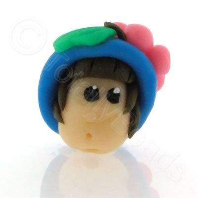 Fimo Doll Bead - Girl Blue Hat