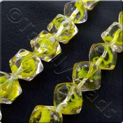 Glass Puffed Diagonal Cube - 10mm - Yellow - 25pcs