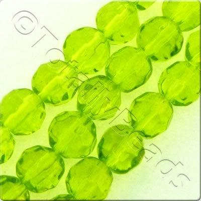 Glass Facet Round - 6mm - Lime