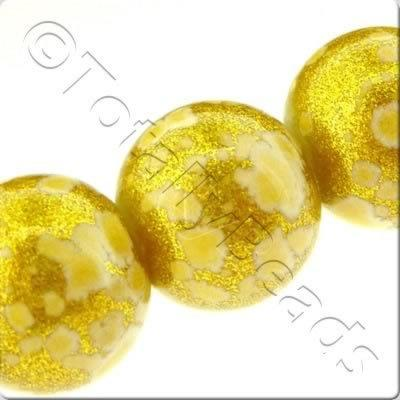 Gold Shimmer Glass Beads Round - Gold