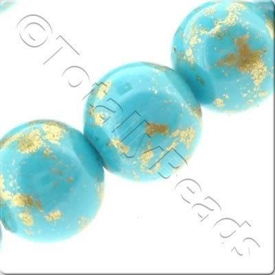 Gold Shimmer Glass Beads Round - Turquoise