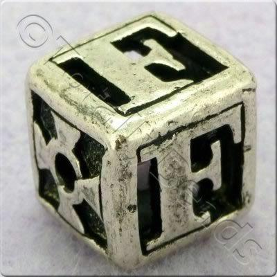 Tibetan Silver Letter Cube Bead - F