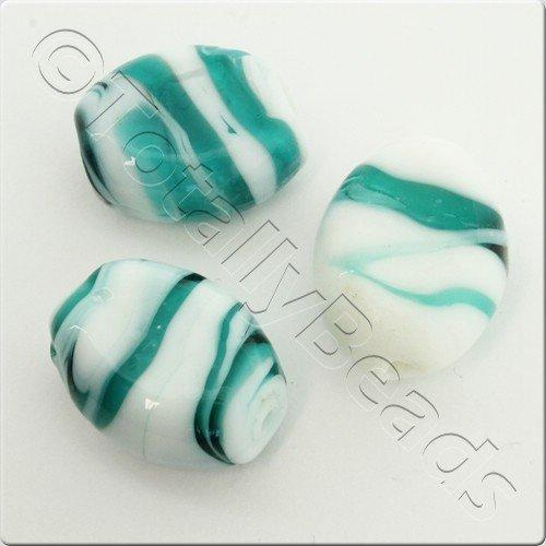 Lampwork Glass Bead Oval 23mm - Teal White Swirl