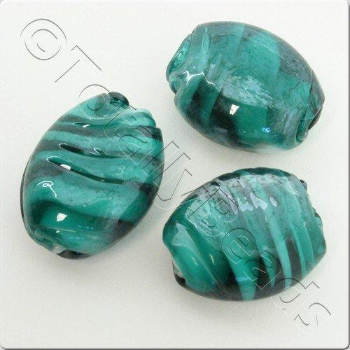 Lampwork Glass Bead Oval 22mm - Aqua Swirl Luster