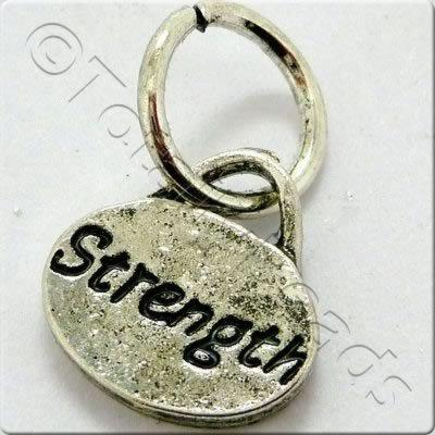 Tibetan Silver Message Tag/Charm - Strength