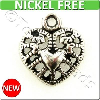 Antique Silver Metal Charm - Heart 12mm 12pc - A10645