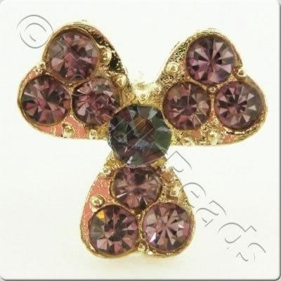 Metal-base Crystal Button - 3 Petal Flower Amethyst