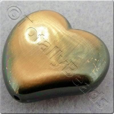 Acrylic Red Copper Bead - Fluted Heart 28mm