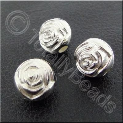 Metalised Acrylic Rose Bead - 9mm - Silver 40pcs