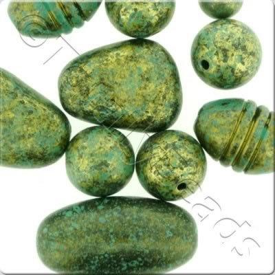 Acrylic Antique Marble Beads Green & Gold