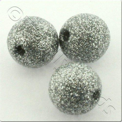 Resin Glitter Round 10mm Bead - Silver