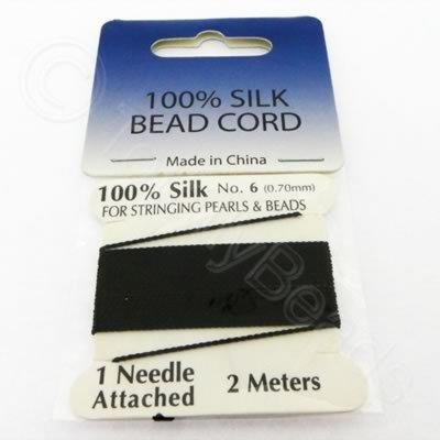 Silk Bead Cord - 0.7mm with Needle - Black