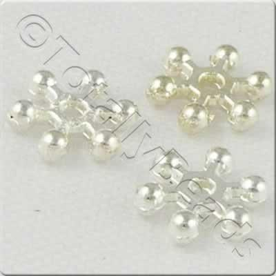 Silver Metal Bead - Snowflake 10mm 40pcs - SMB001