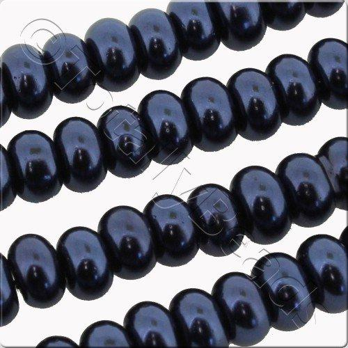 Glass Pearl Rondelle 6x8mm - Colbolt Blue