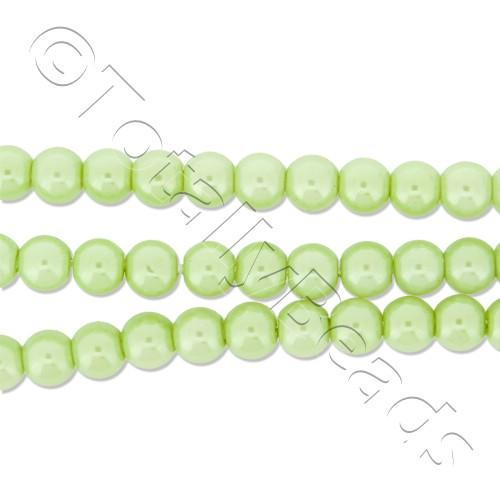 Glass Pearl Round Beads 4mm - Lime Green