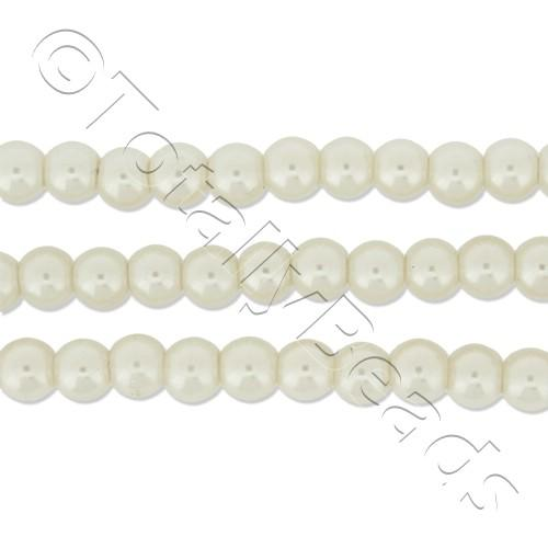 Glass Pearl Round Beads 4mm - White