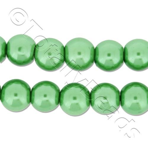 Glass Pearl Round Beads 8mm - Fresh Green
