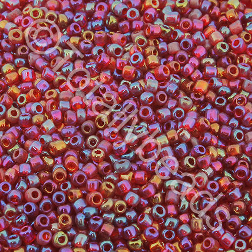 Seed Beads Transparent Rainbow  Dark Red - Size 11