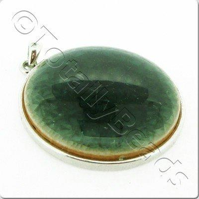 Ceramic Pendant Cracked Cabochon - Dark Green