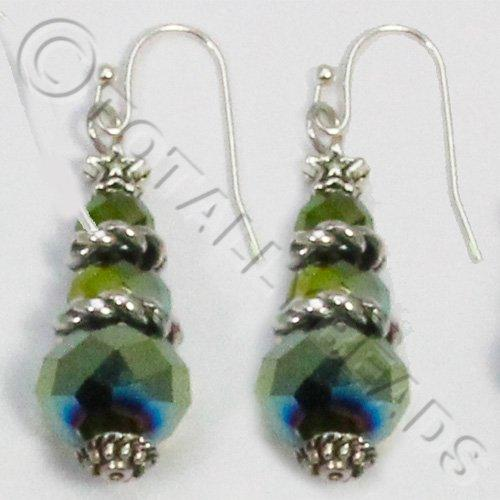 Christmas Tree Earrings - Green AB