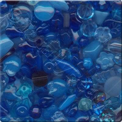 Mixed Glass Crystal Beads - Blue - 100g