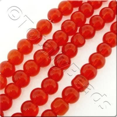 Glass Round - 6.5mm - Red - 47pcs
