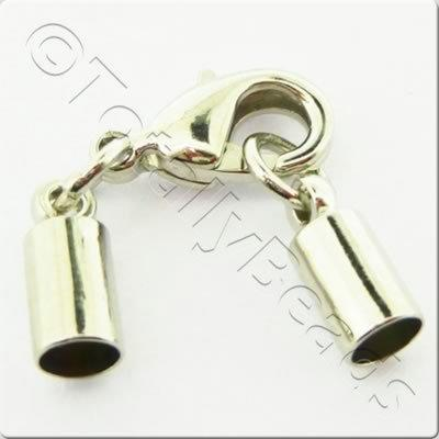Kumihimo 4mm Barrel Lobster Clasp Rhodiumn - 2 sets