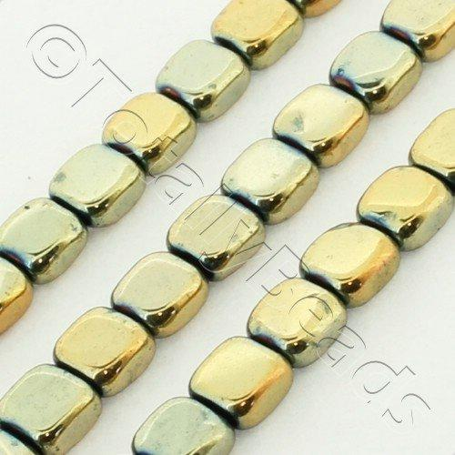 Hematite Flat Square 4mm - 2 Tone Gold Plated