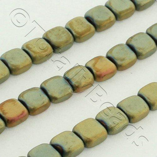 Hematite Flat Square 4mm - Matt 2 Tone Gold Plated