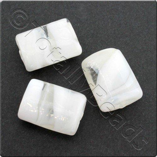 Lampwork Glass Bead Rectangle 21mm - Clear White Swirl