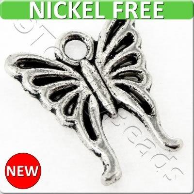 Antique Silver Metal Charm - Butterfly 16x14mm 15pcs - A17627