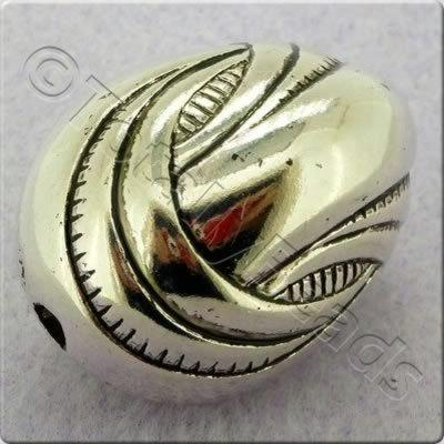 Acrylic Antique Silver Bead - Oval 33x25mm
