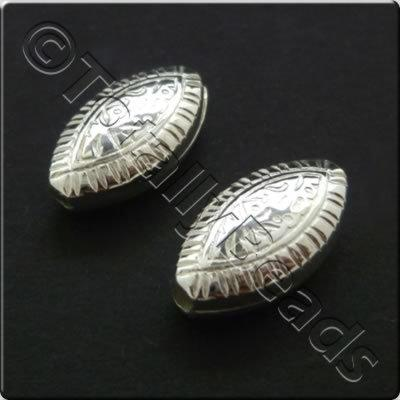 Metalised Acrylic Bead Flat Rice 14x7mm - Silver 50pcs