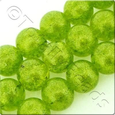 Metallic Crackle Glass Bead - Lime Green